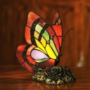 1-Light Butterfly Night Lamp Tiffany Red Handcrafted Glass Table Light with Carved Rose Base
