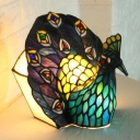 Tiffany Style Peacock Table Light 1 Head Stained Art Glass Nightstand Lamp in Blue