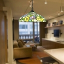 Yellow Flower Patterned Barn Pendant Light Tiffany 1 Head Stained Glass Hanging Light Fixture