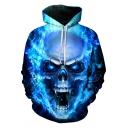 Boys Street Hoodie Skull Flame 3D Pattern Long Sleeve Drawstring Kangaroo Pocket Relaxed Hoodie