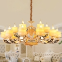 Faux Candle Jade Chandelier Traditional 15/18/35 Heads Bedroom Ceiling Hang Lamp in Yellow