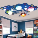Cartoon Bird and Tree Flush Lamp Resin Kids Bedroom Surface Mounted LED Ceiling Light in Blue/Green