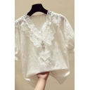 Fancy Women's Shirt Solid Color Pearl Button Lace Trim Short Puff Sleeves V Neck Sleeves Regular Fitted Shirt Blouse