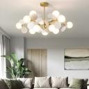 White Multi-Circle Chandelier Light Stylish Modern 10/15-Head Metal Hanging Pendant with Ball Milk Glass Shade