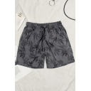 Beach Boys Shorts Drawstring Waist All-over Leaf Print Relaxed Shorts in Gray
