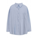Fancy Women's Shirt Blouse Solid Color Chest Pocket Button-down Point Collar Long-sleeved Regular Fitted Shirt Blouse