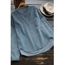Leisure Women's Denim Shirt Solid Color Button-down Round Neck Long Sleeves Asymmetrical Hem Regular Fitted Denim Shirt