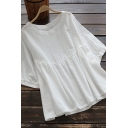 Retro Women's Shirt Blouse Solid Color Round Neck Half Sleeces Pleated Detail Relaxed Fit Pullover Blouse