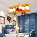 Biplane Boys Bedroom Chandelier Pendant Ivory Glass 5 Bulbs Kids Style Suspension Light in Yellow