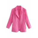 Trendy Women's Suit Jacket Solid Color Pocket Design Button Fly Notched Lapel Collar Long Sleeves Regular Fitted Suit Jacket