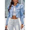 Chic Ladies Jacket Puff Sleeve Spread Collar Button Up Relaxed Crop Plain Denim Jacket