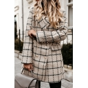 Elegant Womens Coat Plaid Print Long Sleeve Notched Collar Double Breasted Regular Wool Coat