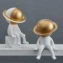 Tiny Astronaut Resin Table Light Decorative 1-Light White Nightstand Lamp for Kids Bedroom