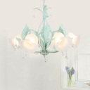 Frost Glass Flower Chandelier Korean Garden 3/6 Heads Dining Room Ceiling Hang Lamp in Pink/Blue/Green with Crystal Drip