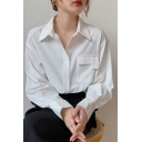 Fancy Women's Shirt Blouse Solid Color Flap Pocket Turn-Down Collar Button Fly Long Sleeves Regular Fitted Blouse Shirt