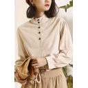 Fancy Women's Shirt Blouse Button Front Mock Neck Long Bishop Sleeves Regular Fitted Shirt Blouse