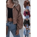 Cool Girls Plain Jacket Corduroy Blouson Sleeve Spread Collar Button Up Relaxed Crop Jacket