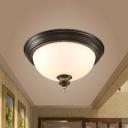 Black 1 Bulb Flushmount Light Classic Opal Glass Bowl Shaped Ceiling Fixture for Corridor, Small/Medium/Large
