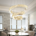 Modern Fashion Spiral Suspension Light Crystal LED Chandelier Lamp in Third Gear Light (Warm/White/Natural Light)