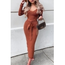 Basic Womem's Sweater Dress Solid Color Ribbed Knit V Neck Long Sleeves Slim Fitted Sweater Dress with Belt