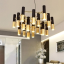 Black and Gold Tube Chandelier Postmodern Style 7/13/19-Bulb Metal Hanging Light Fixture
