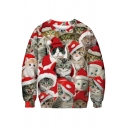 Lovely Red Sweatshirt Cat 3D Printed Long Sleeve Crew Neck Loose Fit Pullover Sweatshirt for Boys