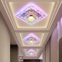 3/5w Clear Crystal Square Flush Mount Modern Style LED Flushmount Ceiling Light in Warm/White/Multi-Color Light