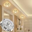 3/5w Modern Floweret Flush Ceiling Light Clear Crystal Living Room LED Flushmount Light in Warm/White/Multi-Color Light