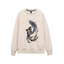 Stylish Men's Sweatshirt Fish Pattern Ribbed Trim Round Neck Long-sleeved Relaxed Fitted Sweatshirt