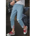Men's Cool Knee Cut Rolled Cuff Patched Slim Fit Straight Light Blue Jeans