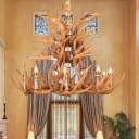 9-Head Faux Deer Horn Chandelier Light Farm Style White/Yellow/Brown Resin Ceiling Hang Lamp for Living Room
