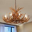 Resin Faux Antler Chandelier Lighting Rustic 4/6/8 Lights Living Room Ceiling Hang Lamp in Brown
