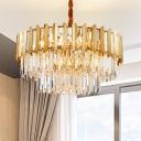 1/2-Tiered Round Ceiling Pendant Light Postmodern Beveled Crystal Prism 19/24-Bulb Gold Hanging Chandelier, 31.5