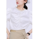 Trendy Women's Shirt Blouse Ruched Front Short Puff Sleeves Relaxed Fit Shirt Blouse