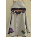 Leisure Women's Cape Coat Contrast Plaid Pattern Front Pocket Button Closure Long Sleeves Ear Hooded Coat