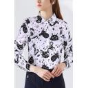 Fancy Women's Shirt Blouse All over Cat Cartoon Print Button Placket Turn-down Collar Long Sleeves Regular Fitted Shirt Blouse
