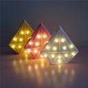 Plastic Diamond Mini Night Light Kids Pink/Blue/White Battery Operated LED Wall Night Lighting