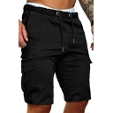 Trendy Men's Cargo Shorts Solid Color Flap Pockets Low Drawstring Waist Knee Length Regular Fitted Shorts