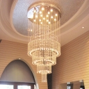 18-Bulb Ceiling Flush Light Fixture Modern Tiered Tapered Crystal Flush Mount in Stainless Steel