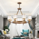 Crystal Rod Black/Brass Pendant Light Tapered 3/6/8 Lights Traditional Ceiling Chandelier for Living Room