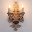 Carved Wood Fleur De Lis Sconce French Country 2-Light Dining Room Wall Lamp with Candle in Distressed White