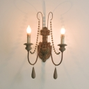 Rust Candle Wall Mount Light Farmhouse Wood 1/2-Head Wall Lighting Ideas with Beaded Strand and Curved Arm