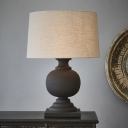 Drum Fabric Night Lamp Rustic 1-Light Bedside Table Light with Sphere Wood Base in Black/Beige