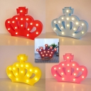 Crown Girls Bedroom Battery Night Light Plastic Cartoon LED Wall Night Lighting in Red/White/Pink