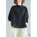 Basic Women's Shirt Blouse Cotton and Linen Button-down Plain Mock Neck Long Sleeves Loose Fitted Shirt