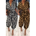 Stylish Women's Jumpsuit Leopard Print Button Design Turn-down Collar Short Sleeves Ankle Tied Relaxed Fitted Jumpsuit