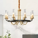 Cylindrical Ribbed Glass Ceiling Hang Light Postmodern 6/8-Bulb Dining Room Chandelier with Arch Arm in Black/Gold