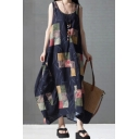 Elegant Women's Swing Dress Contrast Panel Asymmetrical Hem Scoop Neck Sleeveless Relaxed Fit Swing Dress