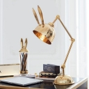 Pink/Gold Bunny Reading Light Postmodernist 1 Bulb Metal Desk Lamp with 3-Joint Swing Arm
