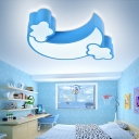 Kids LED Flush Mount Ceiling Light Blue Moon/Moon and Cloud Flushmount Lighting with Acrylic Shade